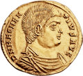 Ancients:Roman Imperial, Ancients: Magnentius (AD 350-353). AV reduced-weight solidus (23mm, 3.70 gm, 12h). ...