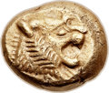 Ancients:Greek, Ancients: LYDIAN KINGDOM. Alyattes (ca. 610-561 BC). EL third-stater or trite (12.5mm, 4.71 gm). ...