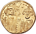 Ancients:Byzantine, Ancients: Constans II, with Constantine IV (AD 641-668). AV solidus(20mm, 4.39 gm, 6h)....