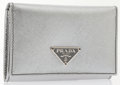 Luxury Accessories:Accessories, Prada Metallic Silver Saffiano Leather Credit Card Case. ...