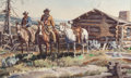 Works on Paper, JAMES ERWIN BOREN (American, 1921-1990). Line Camp on the Sweetwater, 1973. Watercolor on paper. 24-1/2 x 38-1/2 inches ...