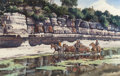 Works on Paper, JAMES ERWIN BOREN (American, 1921-1990). Wading the River, 1974. Watercolor on paper. 24-1/2 x 38-1/2 inches (62.2 x 97....