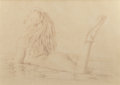 Pin-up and Glamour Art, WALTER GIROTTO (American, b. 1953). Untitled (drawing of PamelaAnderson), 1995. Pencil on paper. 19 x 26.5 in. (image)...