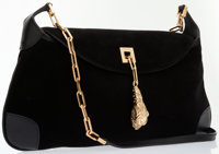Gucci Black Suede Shoulder Bag with Gold Lion Medallion