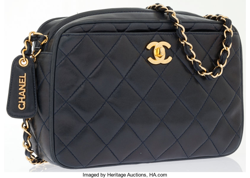 647201ba1d83 Luxury Accessories:Bags, Chanel Navy Quilted Lambskin Leather Camera Bag .