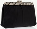 Luxury Accessories:Bags, Judith Leiber Black Satin Evening Bag with Silver & CrystalAccents. ...