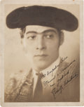 Movie/TV Memorabilia:Autographs and Signed Items, A Rudolph Valentino Signed Sepia Photograph, 1920s....