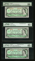 Canadian Currency: , Three $1 1967 Notes PMG Graded. ... (Total: 3 notes)