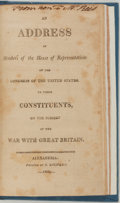 Books:Americana & American History, [War of 1812]. An Address of the ...House of Representatives...to Their Constituents, on ...the War with Great Britain....