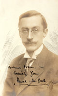 Autographs:Authors, Harold MacGrath (1871-1932, American novelist). Photograph Signed. Measures 3.5 x 5.75 inches. Very good. . ...