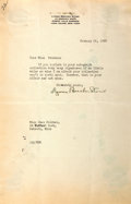 Autographs:Authors, Lyman Beecher Stowe (1775-1863, grandson and biographer of HarrietBeecher Stowe) Typed Letter Signed. January 25, 1930. Sta...