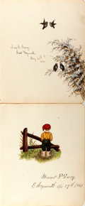 Autographs:Artists, Two SIGNED Original Watercolors by Members of the Garey Family. One by Minor P. Garey, dated April 27, 1881 and the other by...
