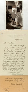 Autographs:Authors, Hamlin Garland (1860-1940, American author) Typed Letter, Photo and Card Signed. Letter dated April 13, 1925. Various sizes;...