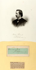 Autographs:Authors, Josiah Gilbert Holland (1819-1881, American novelist) Clipped Signature. 4 x 1.75 inches; affixed to backing. Includes engra...