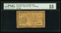 Colonial Notes:Pennsylvania, Pennsylvania March 16, 1785 15s PMG Choice Fine 15.. ...