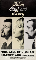 Music Memorabilia:Posters, Peter, Paul and Mary Harvey Auditorium Concert Poster (AlbertGrossman, 1963)....