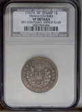 1767-A 9DEN French Colonies Copper Sou, RF Counterstamp--Reverse Scratched, Improperly Cleaned--NCS. VF Details. Breen-7...