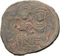 Ancients:Byzantine, Ancients: ARAB-BYZANTINE. Pre-Reform Omayyad Dynasty. Gerasa. Late7th Century AD. Æ follis (27mm, 8.16 gm, 9h)....