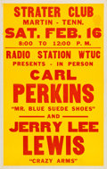 Music Memorabilia:Posters, Carl Perkins and Jerry Lee Lewis Strater Club Concert Poster(1957)....