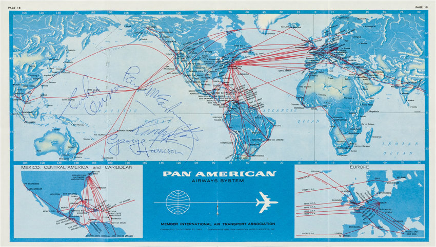 Beatles Signed Pan Am Airways Route Map Obtained on Their Flight to ...