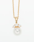 Estate Jewelry:Pendants and Lockets, Diamond, Cultured Pearl, Gold Pendant, Mikimoto. ...
