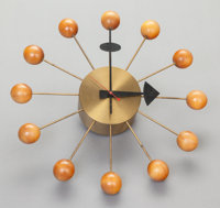 GEORGE NELSON (American, 1908-1986) Ball Wall Clock, circa 1955 Brass and lacquered wood 13-1/2 x