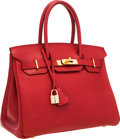 Luxury Accessories:Bags, Hermes 30cm Rouge Vif Courchevel Leather Birkin Bag with GoldHardware. ...