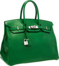 Luxury Accessories:Bags, Hermes 35cm Vert Bengale Swift Leather Birkin Bag with PalladiumHardware. ...
