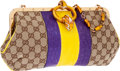 Luxury Accessories:Bags, Gucci by Tom Ford Limited Edition Purple & Yellow AlligatorEnamel Dragon Closure Clutch Bag with Bamboo Strap. ...