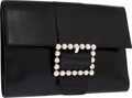 Luxury Accessories:Bags, Celine Black Leather Envelope Clutch with Silver Star Balls. ...