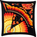 """Luxury Accessories:Accessories, Hermes 90cm Red & Black """"Brazil II,"""" by Laurence BourthoumieuxSilk Plisse Scarf. ..."""