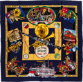 "Luxury Accessories:Accessories, Hermes 90cm Blue & Red ""New Orleans Creole Jazz,"" by LoicDubigeon Silk Scarf. ..."