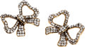 Luxury Accessories:Accessories, Chanel Gold & Crystal Bow Earrings. ...