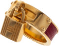 Luxury Accessories:Accessories, Hermes Rouge Vif Lizard & Gold Kelly Cadena Lock Scarf Ring....