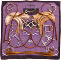 "Luxury Accessories:Accessories, Hermes 90cm Purple & Brown ""Projets Carres,"" by Henri d'OrignySilk Scarf. ..."