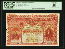 Featured item image of Zanzibar Government 10 Rupees 1.2.1928 Pick 3  ...