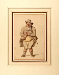 Books:Original Art, (Artist Unknown). Original Watercolor Depicting a Caricature of aMan. Pen, ink and watercolor. N.d., ca. mid-19th century. ...