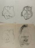 Books:Original Art, Garth Williams (1912-1996), illustrator. Group of Four Pencil Studies for A Tale of Tails (1962). Drawing paper ...
