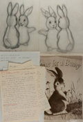 Books:Original Art, Garth Williams (1912-1996), illustrator. SIGNED. Proof,Correspondence and Pencil Sketch for Margaret Wise Brown'sHome...