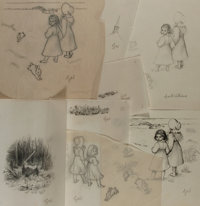 Garth Williams (1912-1996), illustrator. Group of Pencil Studies for Laura Ingalls Wilder's Little House on the