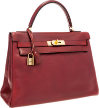 Hermes 32cm Rouge H Calf Box Leather Retourne Kelly Bag with Gold Hardware
