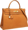 Luxury Accessories:Bags, Hermes 35cm Natural Ardennes Leather Retourne Kelly Bag with GoldHardware. ...