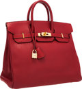 Luxury Accessories:Bags, Hermes 32cm Rouge Vif Ardennes Leather HAC Birkin Bag with GoldHardware. ...