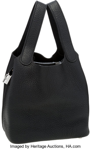 8b0e0c3ff034 Hermes Black Clemence Leather Picotin Lock PM Bag with