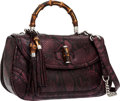 Luxury Accessories:Bags, Gucci Purple Python New Bamboo Top Handle Bag . ...