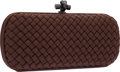 Luxury Accessories:Bags, Bottega Veneta Brown Silk Intrecciato Stretch Knot Clutch Bag. ...