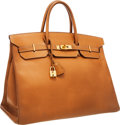 Luxury Accessories:Bags, Hermes 40cm Natural Ardennes Leather Birkin Bag with Gold Hardware....