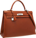 Luxury Accessories:Bags, Hermes 35cm Noisette Calf Box Leather Sellier Kelly Bag withPalladium Hardware. ...