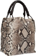 Luxury Accessories:Bags, Nancy Gonzalez Gray, White & Brown Python Shoulder Bag withBraided Handles. ...
