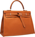 Luxury Accessories:Bags, Hermes 35cm Gold Swift Leather Kelly Flat Bag with PalladiumHardware. ...
